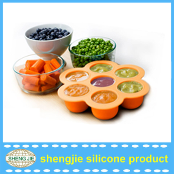 7 Hole Silicone Storage Container And Freezer Tray With Lid For