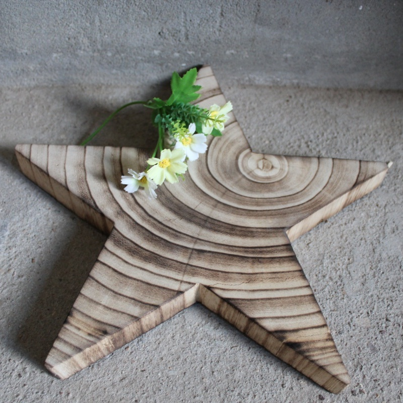 manufacturer supply wood holiday decoration art minds wooden star