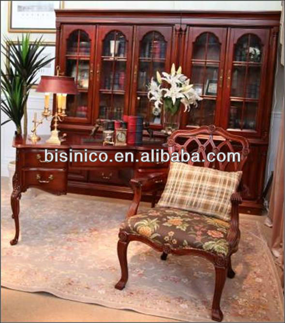 Bisini British Home Office Study Room Furniture Set Wooden Bookcase Exective Desk Table And Chair Queen Anne Style