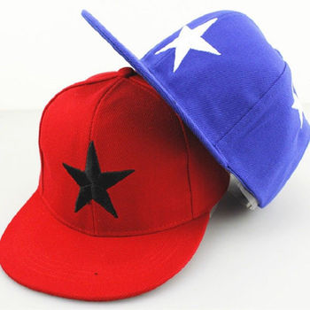 size adjustable star embroidery 2 tone flat brim snapback boys caps
