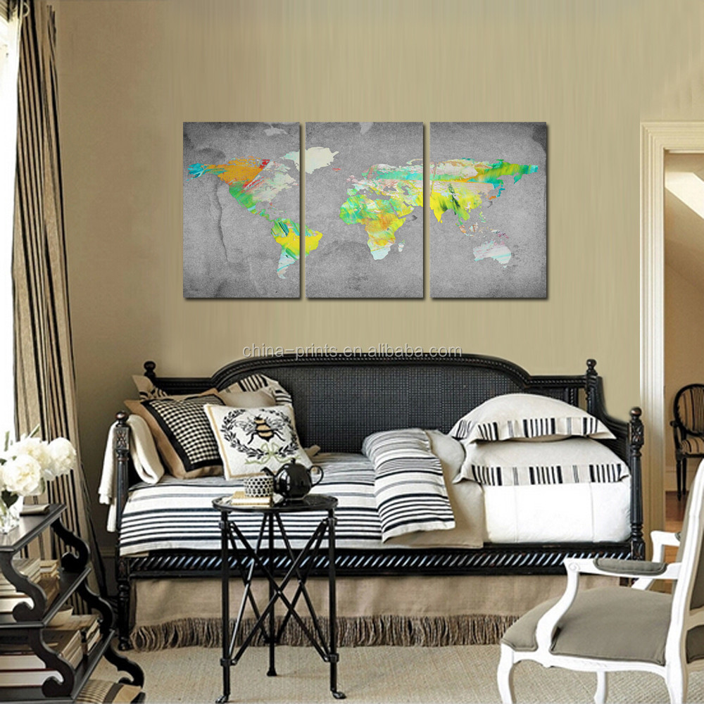 3 Panel Wall Art Vintage World Map Canvas Prints Wall Hanging Framed and Ready to Hang