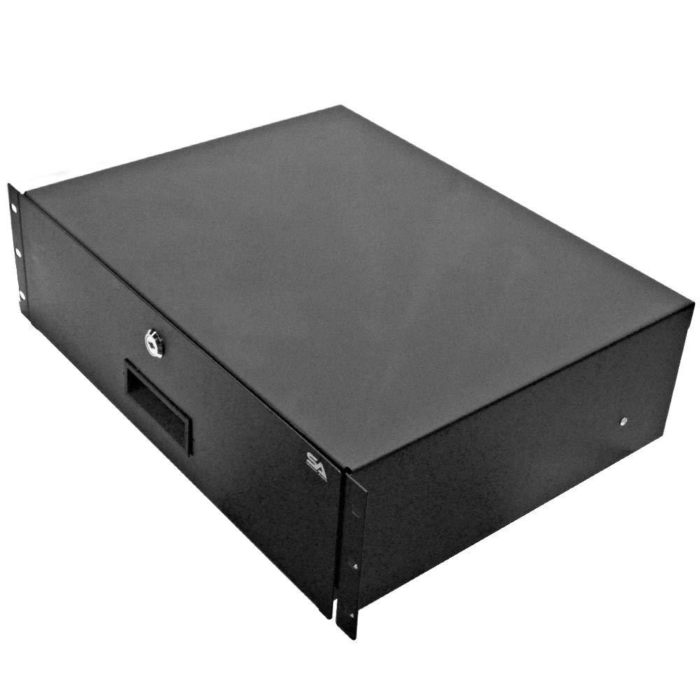 "Seismic Audio - SA-RD3-3 Space PA/DJ Metal 19"" Rack Case Locking Drawer - 3U Server Cabinet Drawer with Keys"