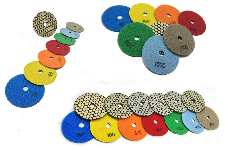 "4 Inch 4"" Diamond Premium DRY Polishing Pad 14 Pieces for Granite Marble Concrete Travertine Quartz Engineer Stone"