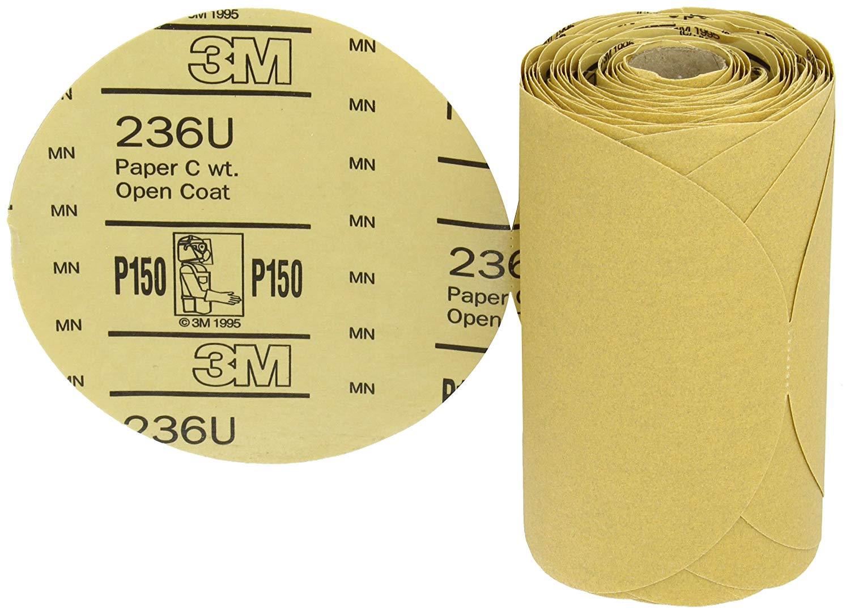 "3M Stikit Paper Disc Roll 236U, PSA Attachment, Aluminum Oxide, 6"" Diameter, P150 Grit (Roll of 100)"