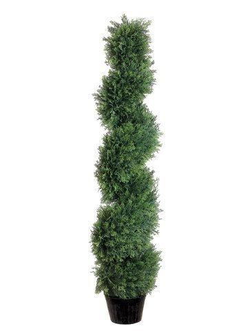 One 4 Foot Outdoor Artificial Cedar Spiral Tree Uv Rated Potted Plant