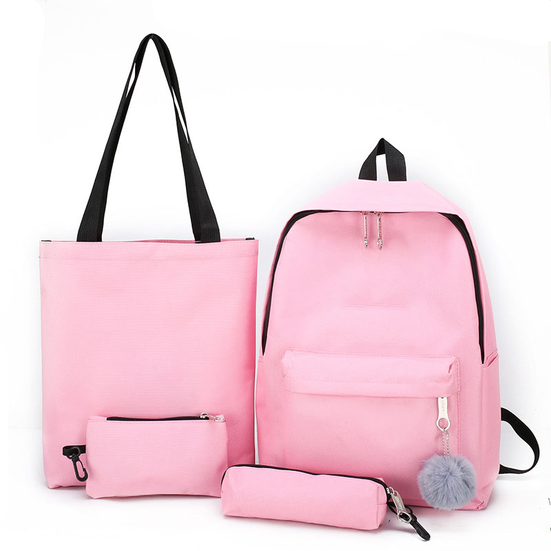 แฟชั่น 4pcs หญิง bagpack ชุดกระเป๋าเป้สะพายหลังไหล่กระเป๋ากระเป๋าสตางค์และดินสอ