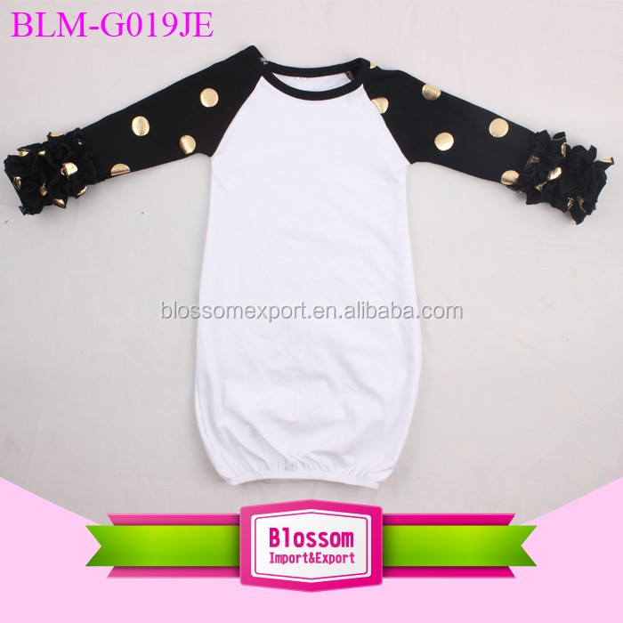 Newest Design Newborn Baby Night Gown Long Sleeve Blank Baby Icing Ruffle Raglan Gown