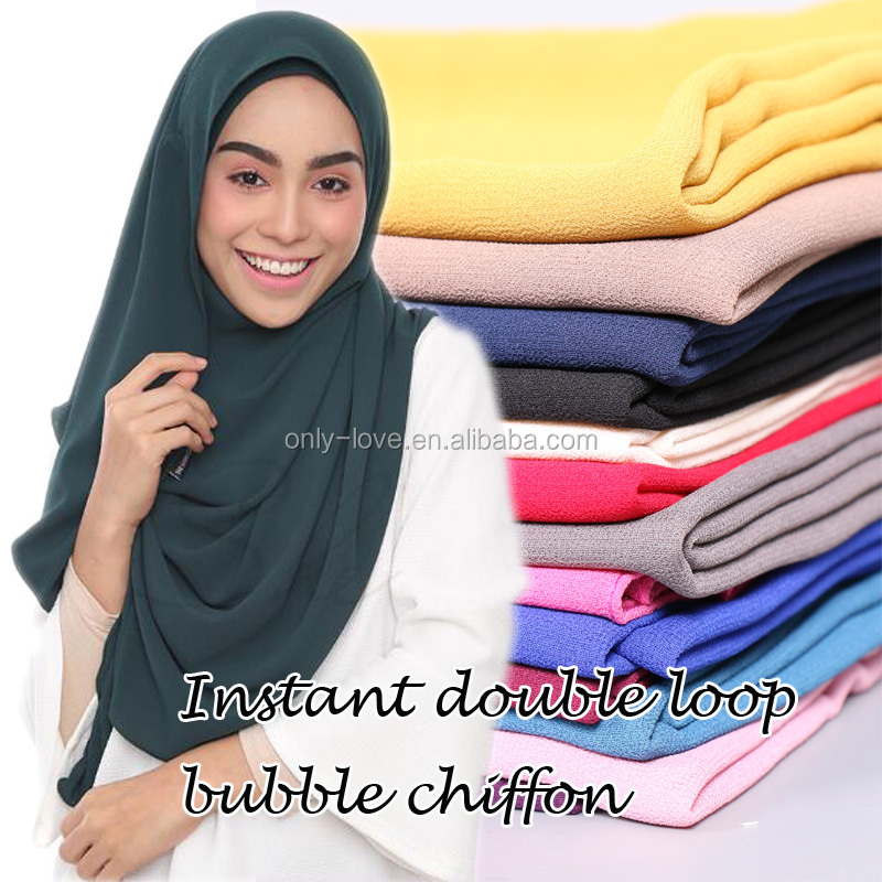 2017 Malaysia hot selling instant double loop bubble chiffon scarf/ shawls two face hijab muslim scarves/scarf GYW20