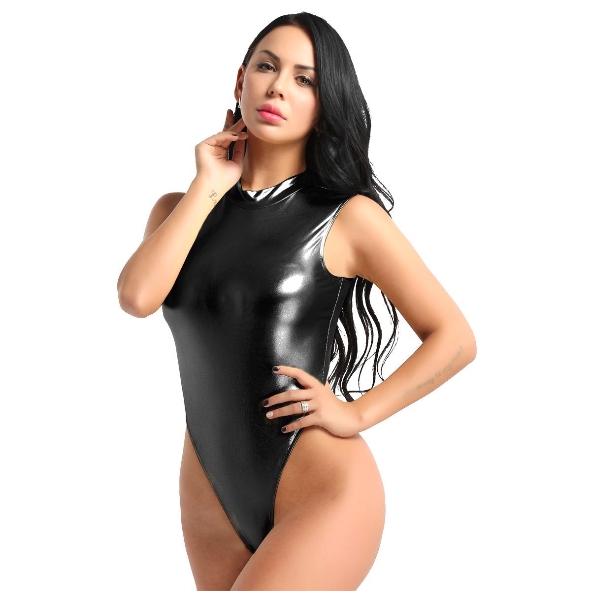 Women Bodysuit Sexy Clubwear One piece Catsuit Shiny