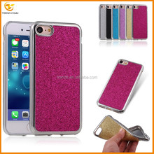 glitter sticker silver electroplating tpu case for iPhone 7