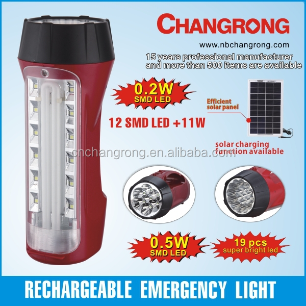 Portable emergency light torch with rechargeable battery red emergency led light