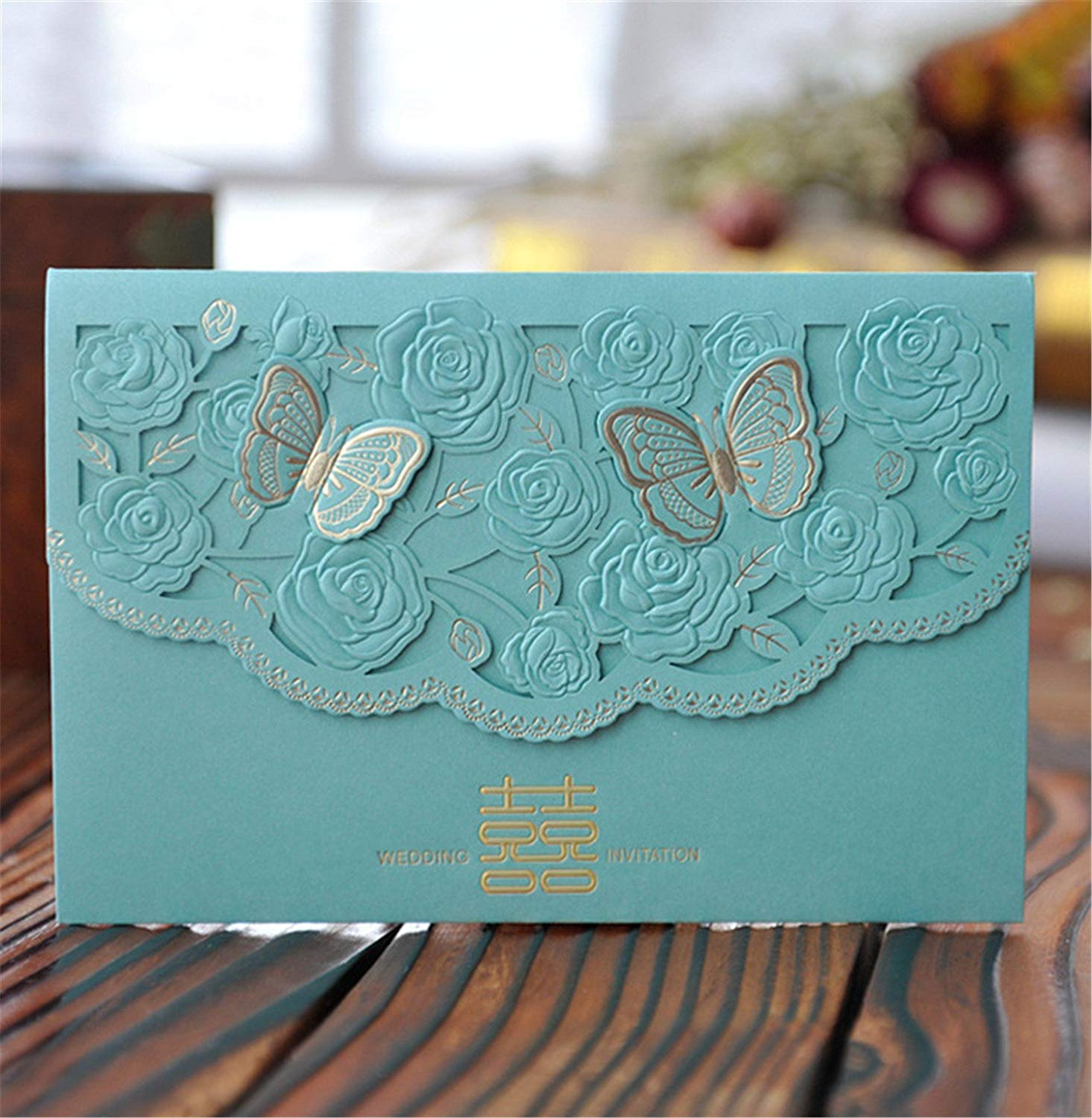 Skyseen 25Pcs Chinese Double Happiness Laser Cut Hollow Out Floral Design Wedding Invitation Card(Blue)