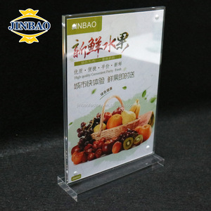 JINBAO wholesale plastic menu stand price tag holder 4mm transparent acrylic display