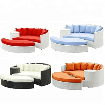 OEM/ODM Available Colorful Lazy Bone Big Modern Round PE Rattan Sofas With Stool Outdoor Furniture Australia