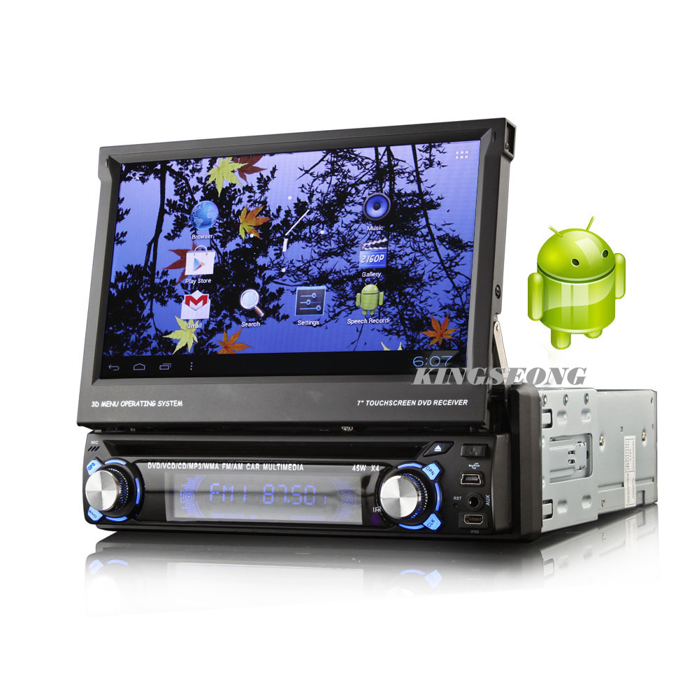 Android 4.0.4 1 Din Car CD DVD Player With GPS WiFi 3G