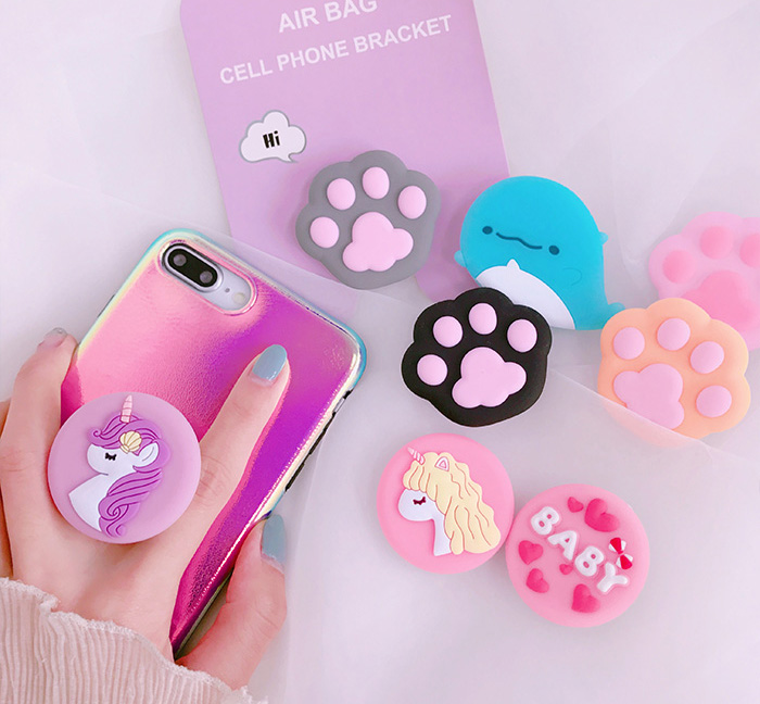 2018 Hot selling new fruit shape support for cell phone cute strawberry mobile phone holder pop cell phone card holder adhesive