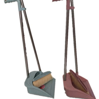 House cleaning plastic broom and dustpan