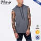 OEM fashion blank pullover grey gym sleeveless hoodies for men