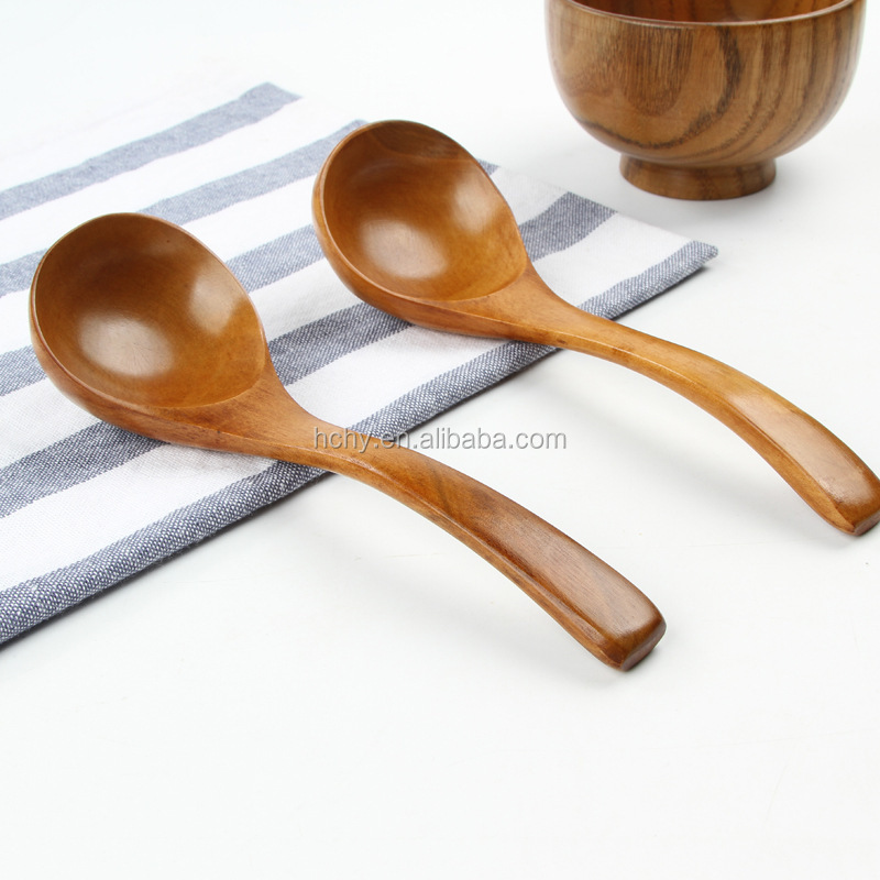 Natural wood spoon Environmental Soup ladle For Hotel Speicalized Big Round Soup