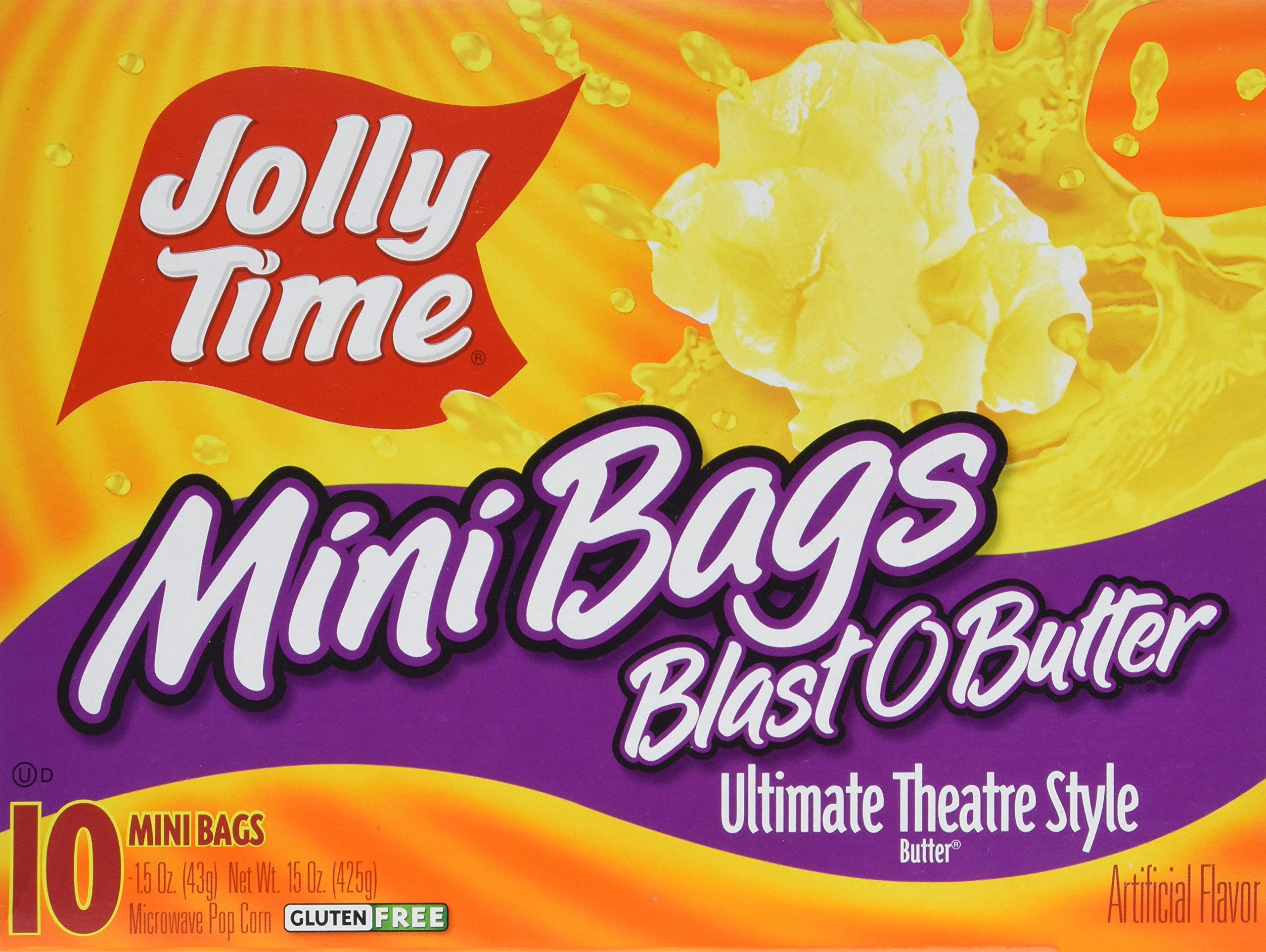 Jolly Time Blast O Butter Movie Theater Microwave Popcorn Single Portion Mini Bags, 10-Count Boxes, 15 oz (Pack of 3)