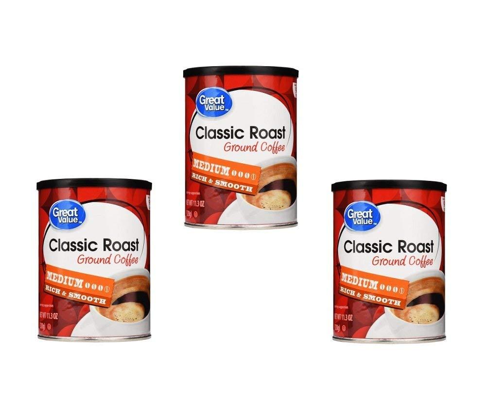 Great Value classic roast ground coffee medium roast 11.3 oz (Pack of 3)