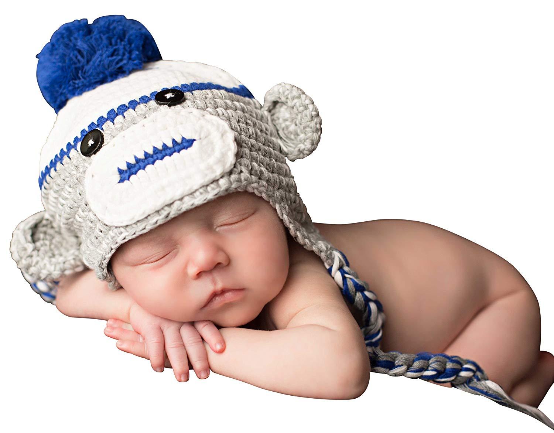 Melondipity's Blue and Grey Baby Boy Sock Monkey Crochet Hat