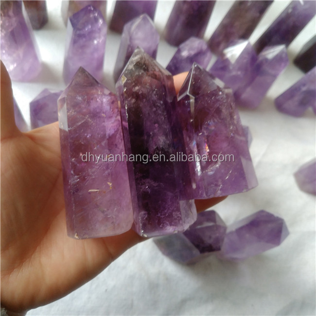 Deep purple natural amethyst quartz crystal points healing crystal wands