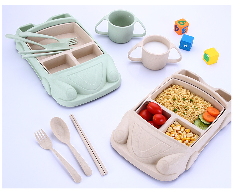 New Product Ideas 2019 Cartoon Car Plate Bamboo Fiber Baby Tableware Child Shatter-resistant Grid Bowl Children Gift Cutlery Set