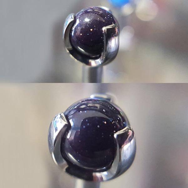 ASTM F136 Titanium Prong Set Bule Goldstone Ball Top For Internally Threaded Body Jewelry