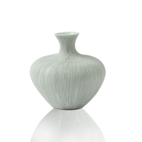 Chic ceramic vase grey and white narrow mouthed wholesale