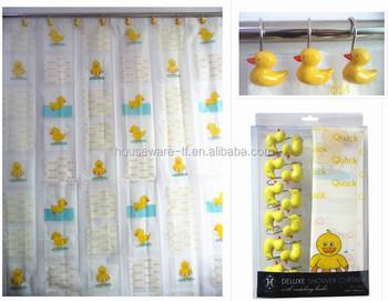 Beautiful Fashion Animal Children Yellow Duck Design Peva Shower Curtain With Resin Hooks
