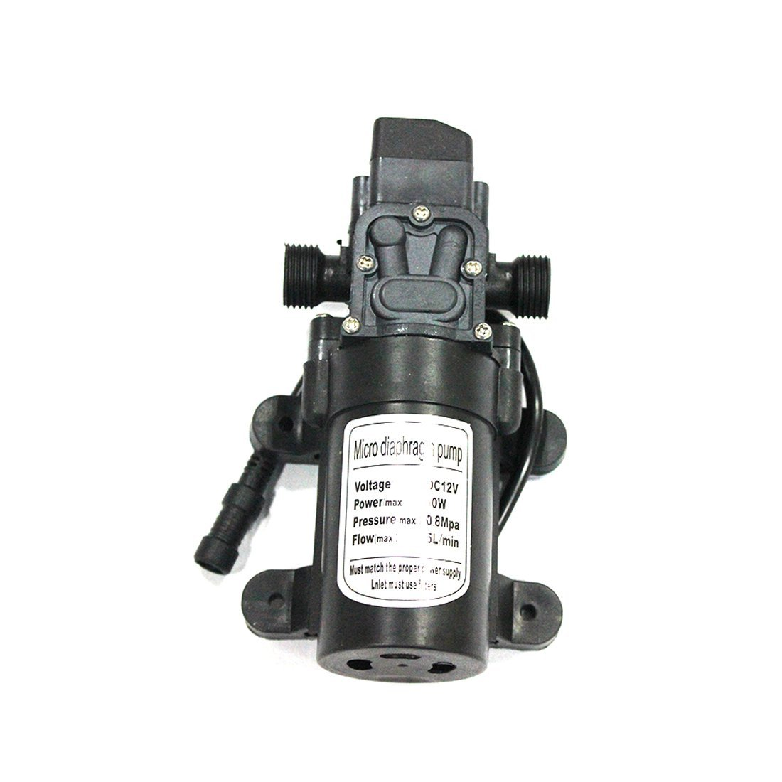 12V 60W 5L/min Self Priming Fine Mist Spray Micro Diaphragm Pump, Hose Clamps Self Priming Sprayer Pump, Fresh Water Pressure Diaphragm Pump By Hylaea