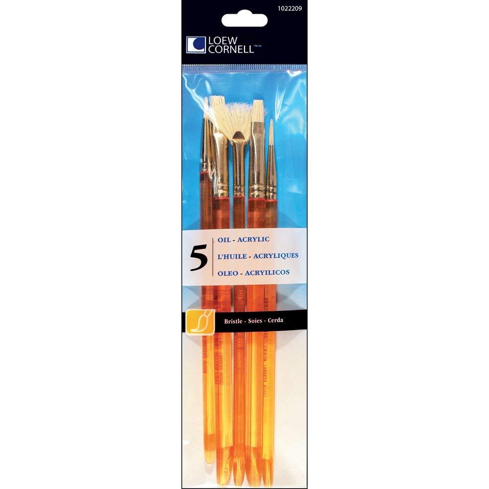Loew-Cornell 5-Piece All Media Brush Set, Bristle, Round 2, 3 Flat 8, 10 Fan 4