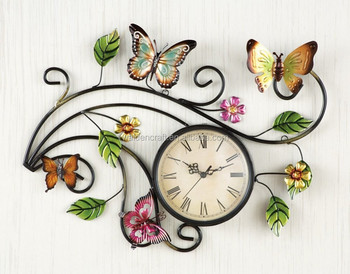 High Quality Wholesale Cheap Metal Wall Art Scrolling Butterfly Home Decor Wall Clock