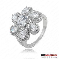 Promotional Gift Valentione's Day Flower Zircon Rings anillo Fashion Jewelry Cluster Party Costume Jewelry CRI0039-B