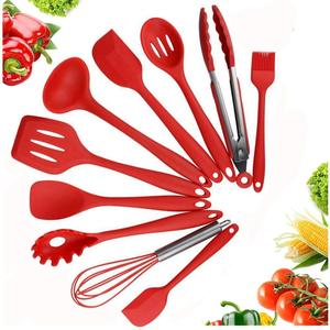 Nonstick BBQ Baking Outdoor Home Cooking Tool 10Pcs Silicone Kitchen Utensil Set