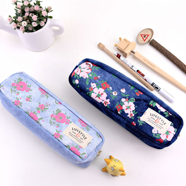 LANGUO jeans pencil case for children, pencil bags with flower design Model:LGHN-2559