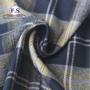 100% cotton yarn dyed plaid pijamas flannel for portuguese