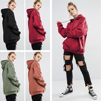 2018 winter Europe new loose solid sports hooded head sweater dress