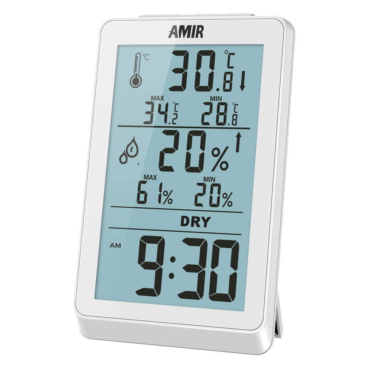 AMIR Indoor Thermometer Humidity Gauge, Digital Hygrometer, Humidity Gauge with Backlight Temperature Humidity Monitor Sensor Room Thermometer for House, Office, Baby Bedroom, etc.