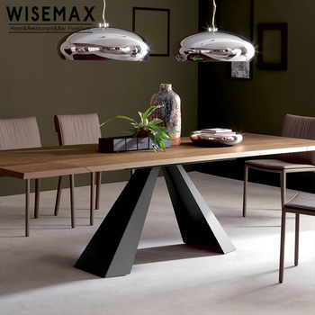 Industrial country loft style Solid Wooden Dining Table Metal Frame restaurant Furniture Set