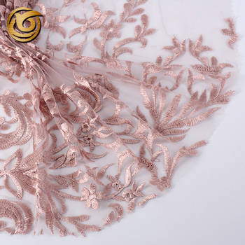 Different design polyester decorative cheap tulle sheer embroidery lace fabric