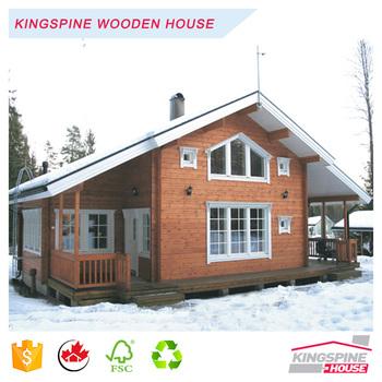 Deux étages villa préfabriquée solide en bois maison en bois rond de haute qualité chalet fait