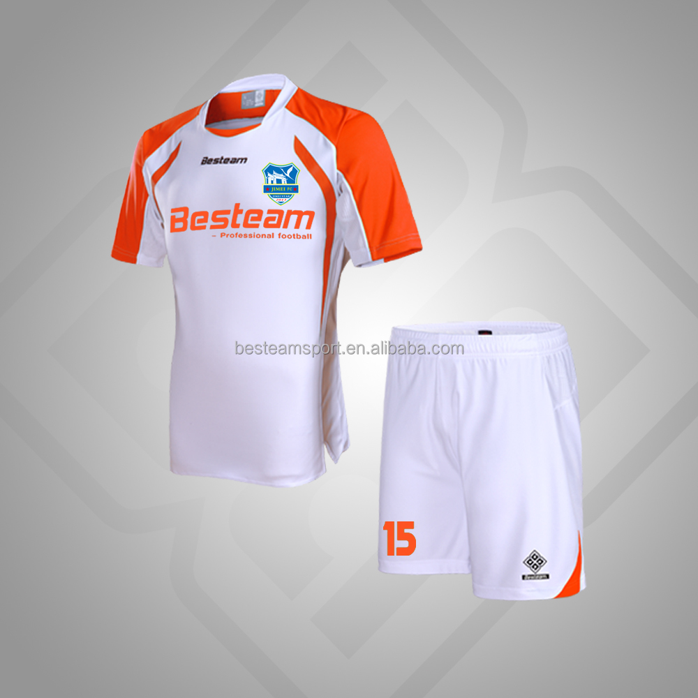 White / Orange China Manufacture sports cheap sublimation soccer uniforms
