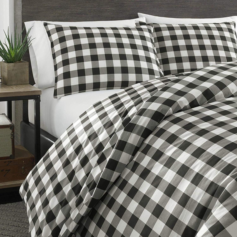 3pc Black White Plaid Comforter King Set, Cotton, Cabin Themed Bedding Tartan Checkered Pattern Checked Squares Lodge Madras Buffalo Check Classic Cottage Lumberjack