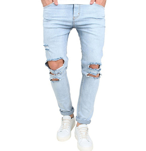 Bangladesh factory custom wholesale made new fashion skinny washed hole jeans 2019 men damaged denim pants ripped slim fit jeans