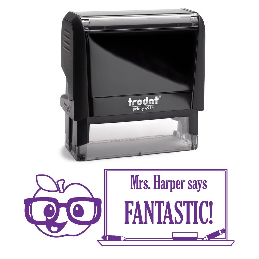 Purple Ink, Apple Wearing Glasses Fantastic Teacher Stamp, Self Inking, Homework Personalized School Work Stamp, Large 2 Lines, Customized Unique Gift, Personal Classroom Stamper