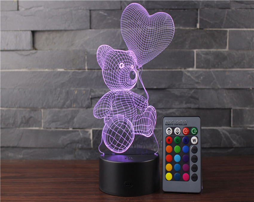 Night Lights for Girls Teddy Bear 7 Colors Change Remote 3D Night Light As A Gift Idea for Women or Girls by Easuntec