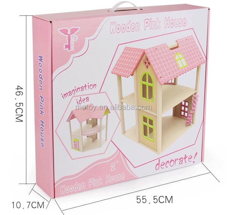 Girl toy wooden dollhouse Pink dollhouse miniature