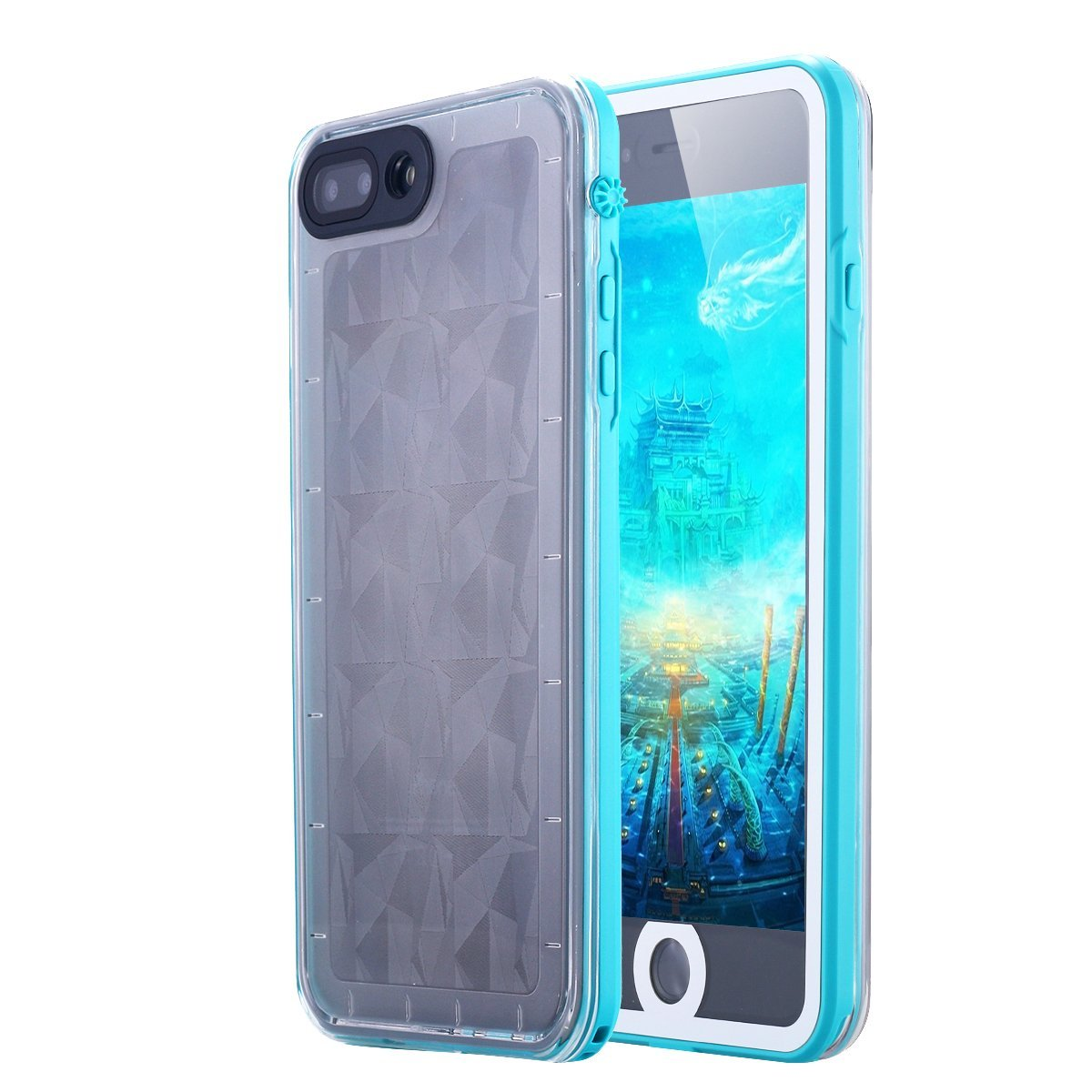 iPhone 7 Plus Case, LONTECT Slim Thin iPhone 7 Plus Waterproof Shockproof Dirtproof Snowproof Case with Clear Back Cover for Apple iPhone 7 Plus - Teal